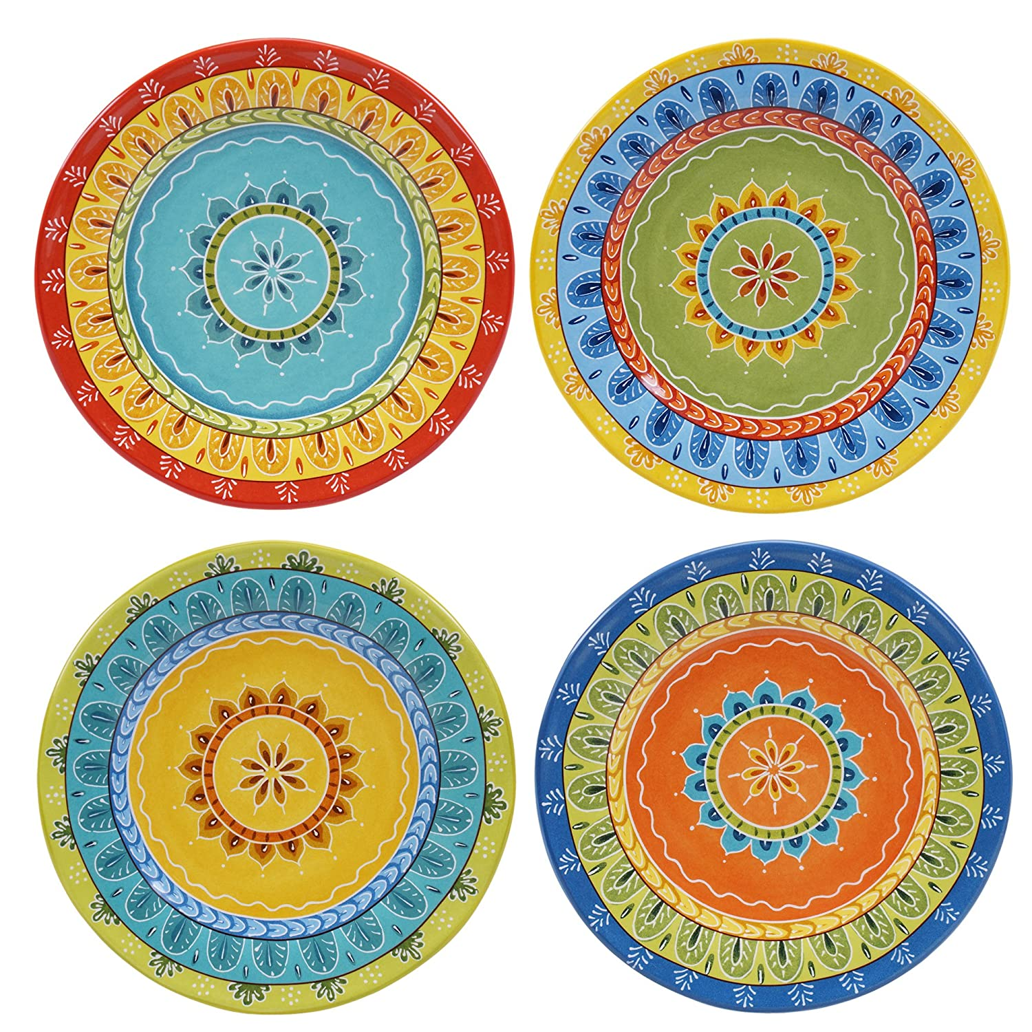 Certified International 14177SET/4 Valencia Dessert Plates (Set of 4), 8.75, Multicolor 8.75