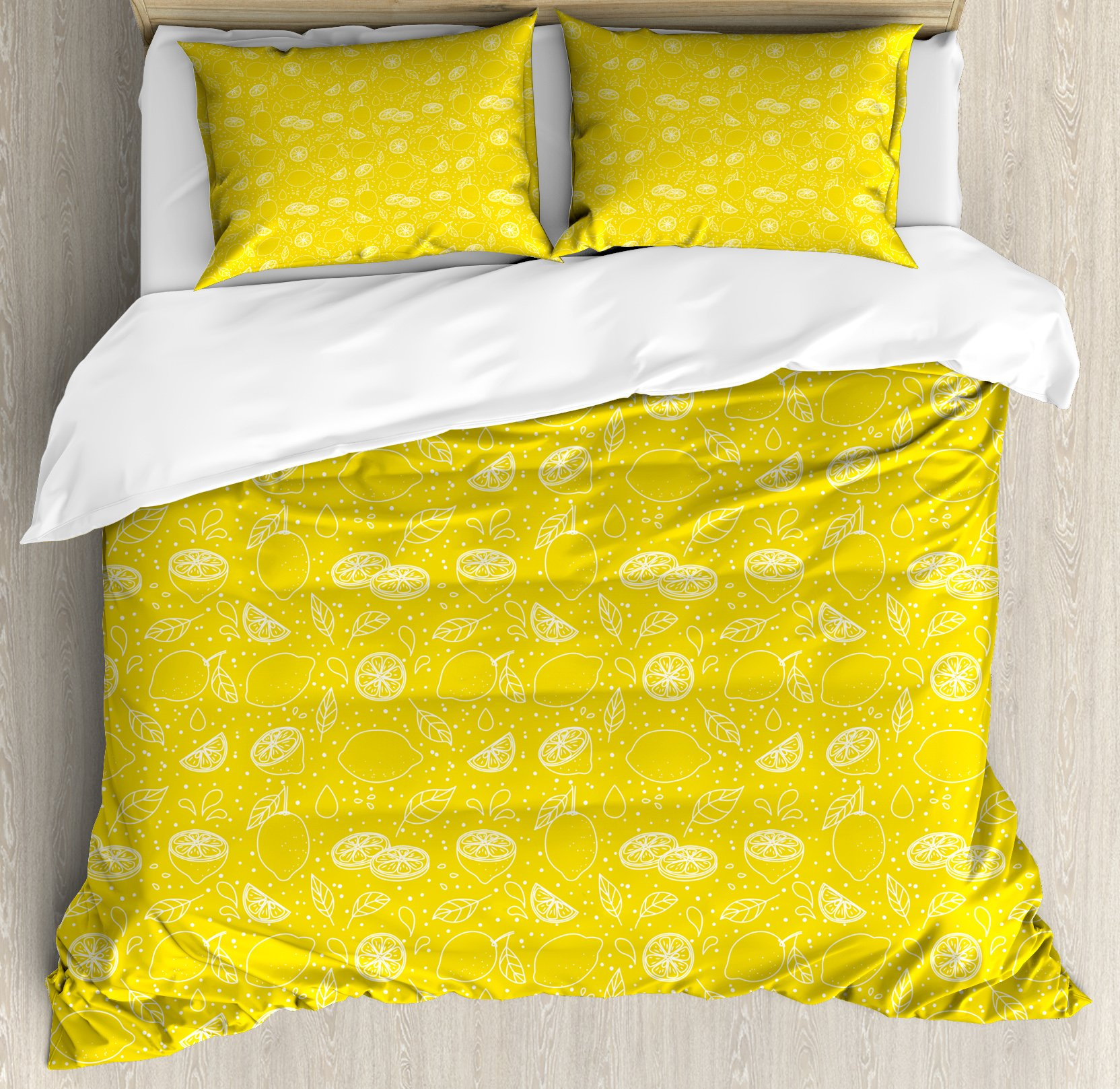 Yellow Duvet Cover Set Queen Size by Ambesonne, Juicy Lemons Citrus Fresh Slices with Leaves and Dots Health Vitamins Food Pattern, Decorative 3 Piece Bedding Set with 2 Pillow Shams, Yellow White