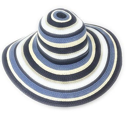 771c4660fb3 50 s   60 s Lady s Stripy Straw Sun Hat  Bardot  Style - One Size ...