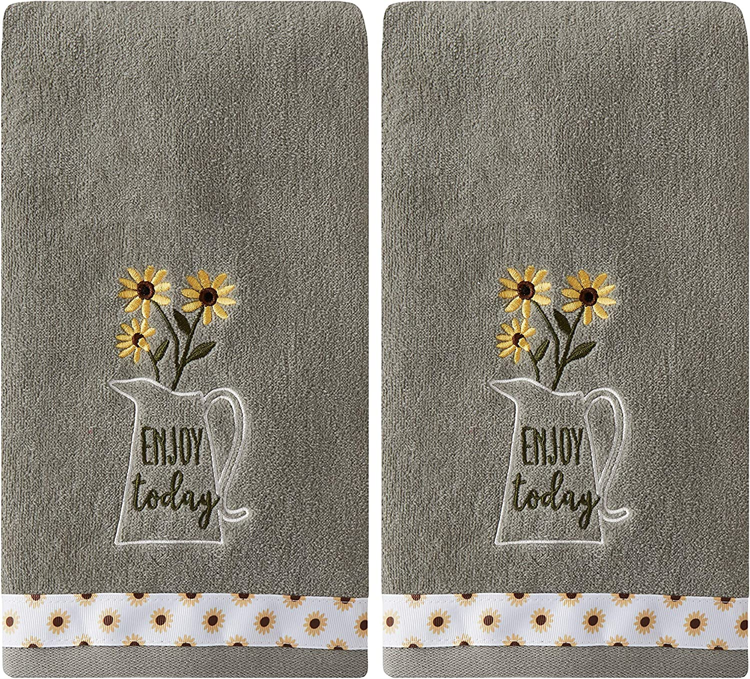SKL Home by Saturday Knight Ltd. Enjoy Today 2 Pc Hand Towel Set, Gray 2 Count