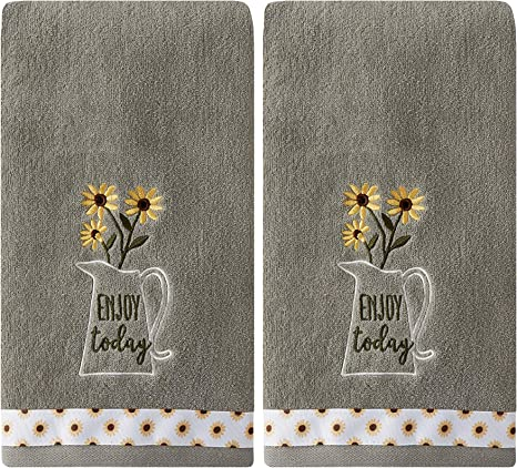 Amazon Com Skl Home By Saturday Knight Ltd Enjoy Today 2 Pc Hand Towel Set Gray 2 Count Home Kitchen