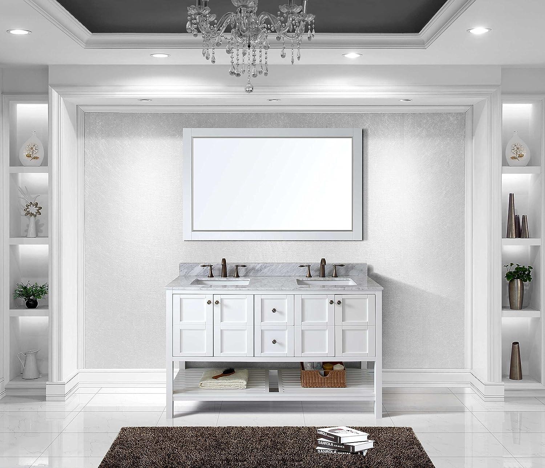 Virtu ED-30060-WMSQ-WH Winterfell Double Bathroom Vanity Cabinet Set ...