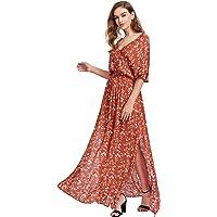 Milumia Women's Boho Split Tie-Waist Vintage Print Maxi Dress Large Red-1