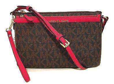 0907a312c759 Amazon.com: Michael Michael Kors Jet Set Travel Large Pocket Messenger Bag  Brown Lipstick: Shoes
