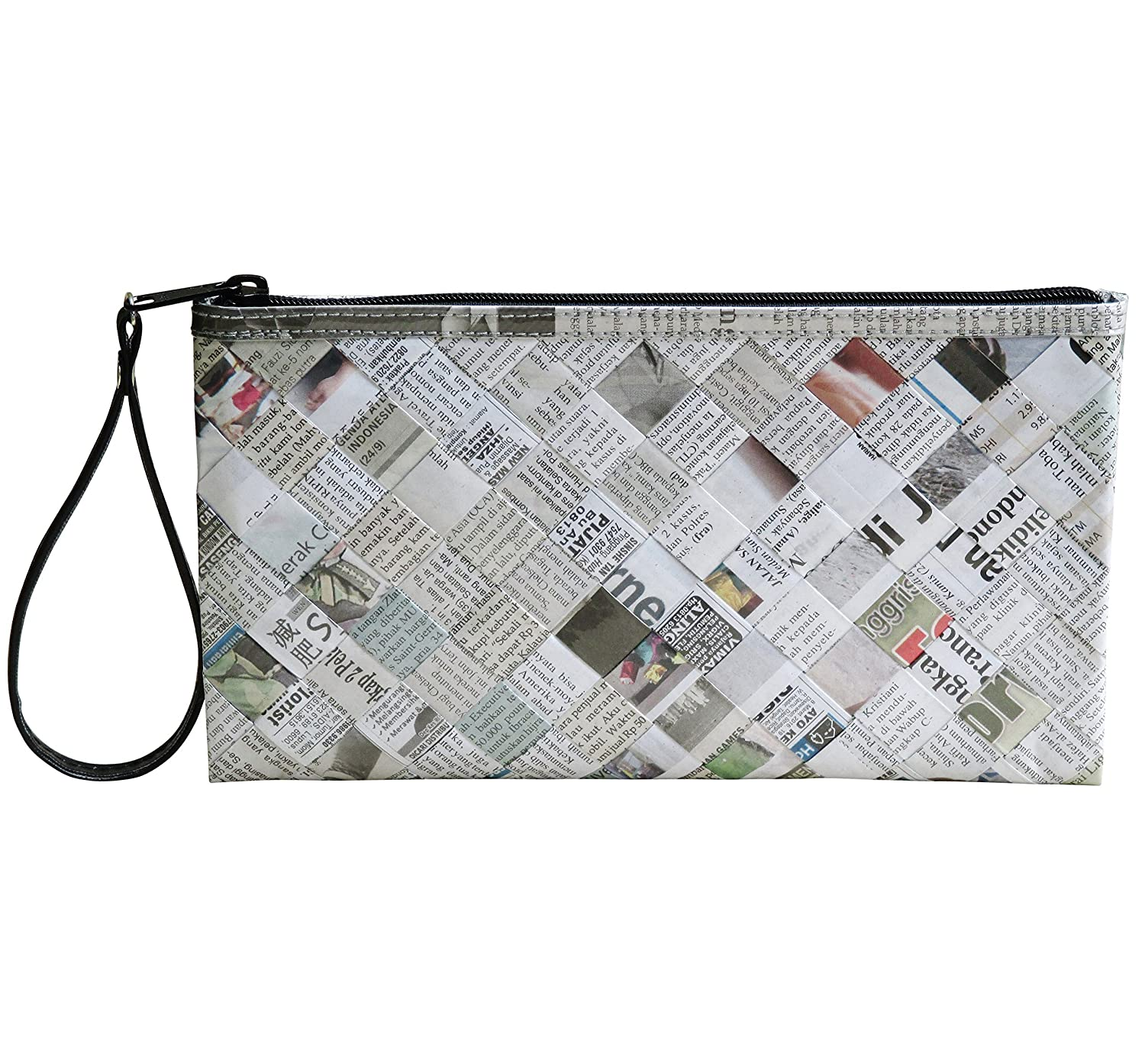Large wristlet using daily newspaper - FREE SHIPPING, upcycled style eco friendly vegan repurposed salvaged reclaimed bag purse clutch clutches gift for recycler upcycling paper recycling art