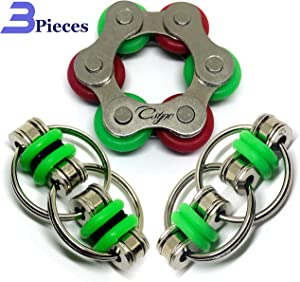 Fidget Toys Flippy Roller Chain - Stress Relief Perfect for ADHD, ADD, Anxiety in Classroom, Office, School, Work for Students, Kids Stocking Stuffers Gifts for Children or Adults (3 Piece) (Green)