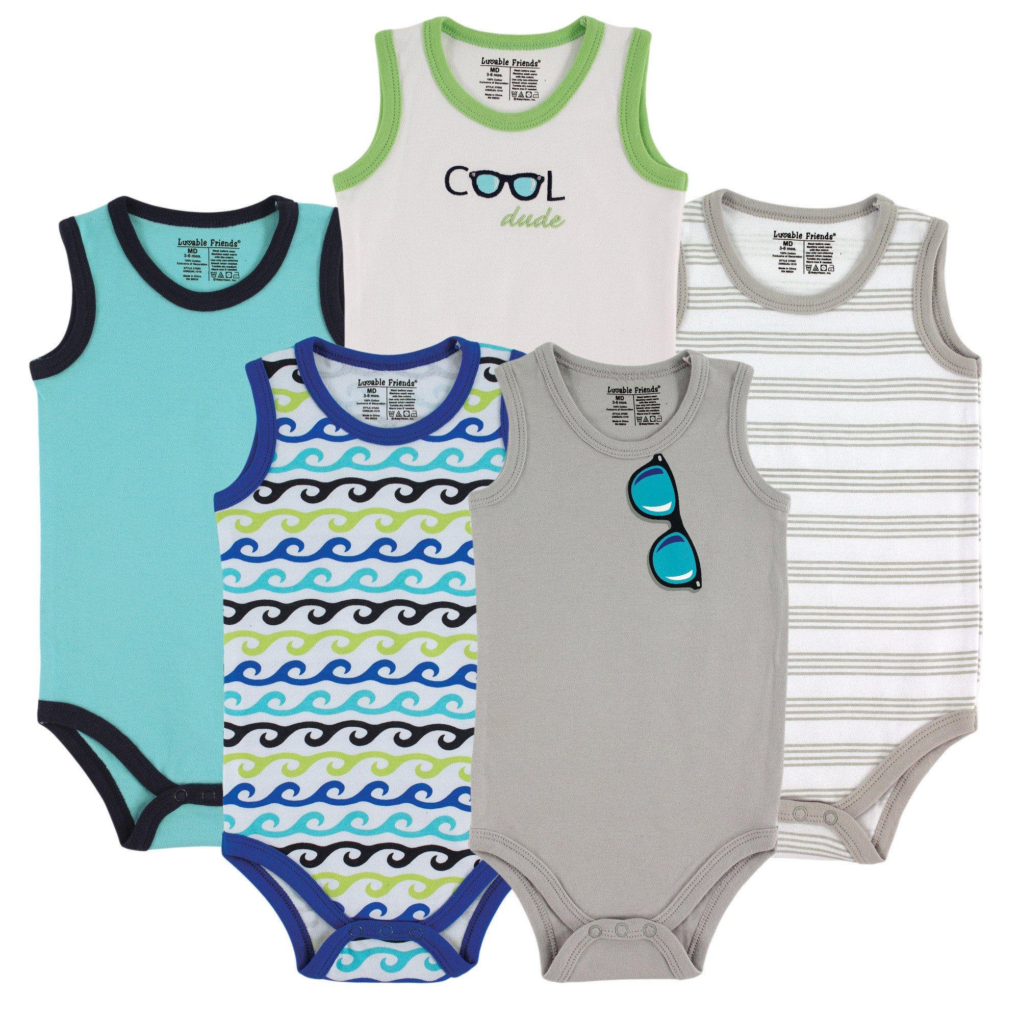Luvable Friends 5-Pack Lightweight Sleeveless Bodysuits, Boy Sunglasses, 9-12 Months