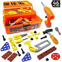 Big Mo's Toys - Caja de herramientas para juguetes y kit de herramientas para niños de 46 piezas, incluye taladro, martillo, sierra, funda de tres niveles y muchas herramientas de construcción y accesorios
