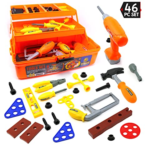 f0f9a04f9 Big Mo's Toys 46 Piece Toy Tool Box and Kid's Tool Kit – Includes Drill,