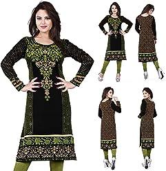 Unifiedclothes Women Fashion Printed Long Indian Kurti Tunic Kurta Top Shirt Dress 113C