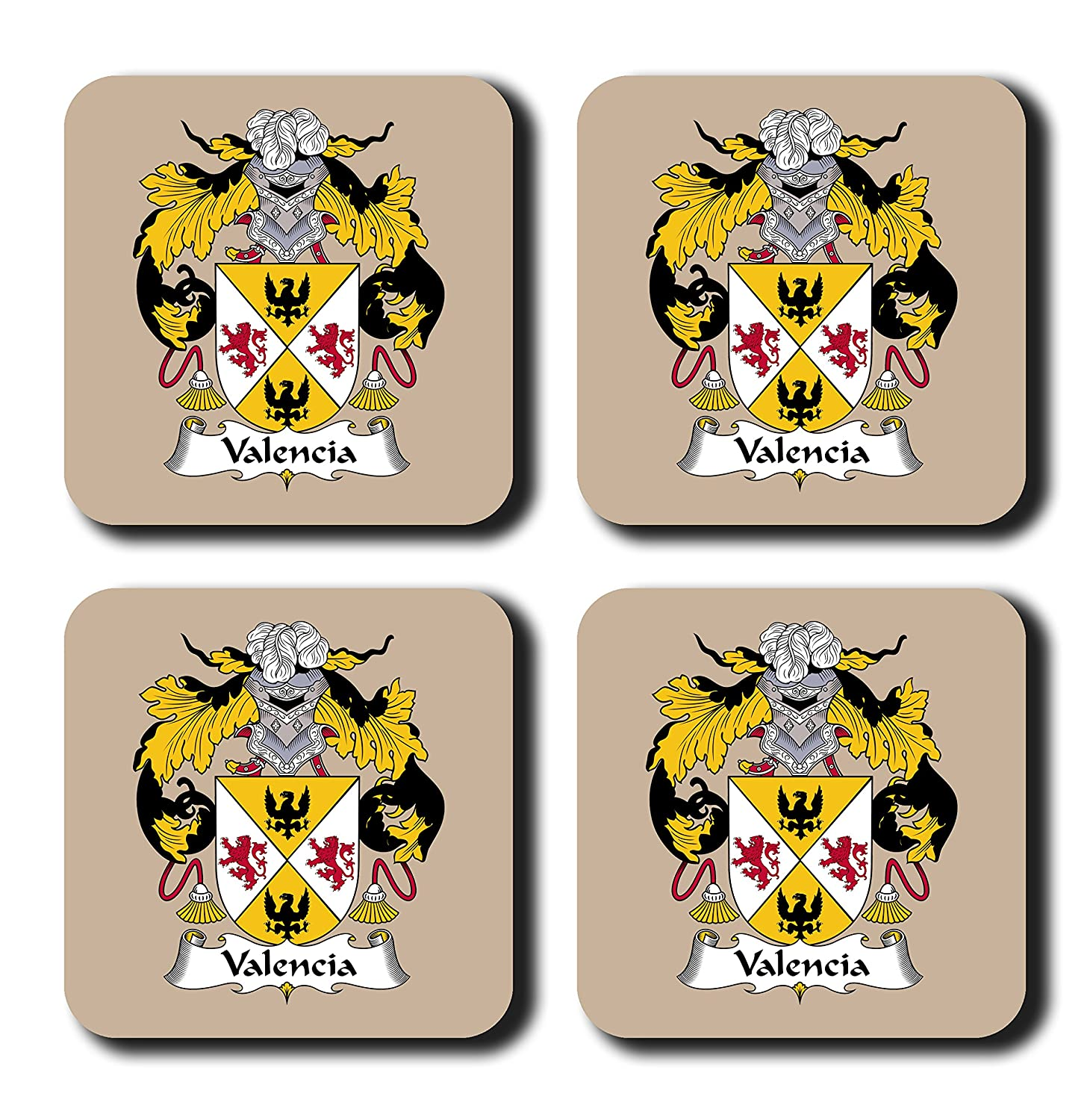 Valencia coat of arms family crest coaster set by carpe diem designs made in the u s a