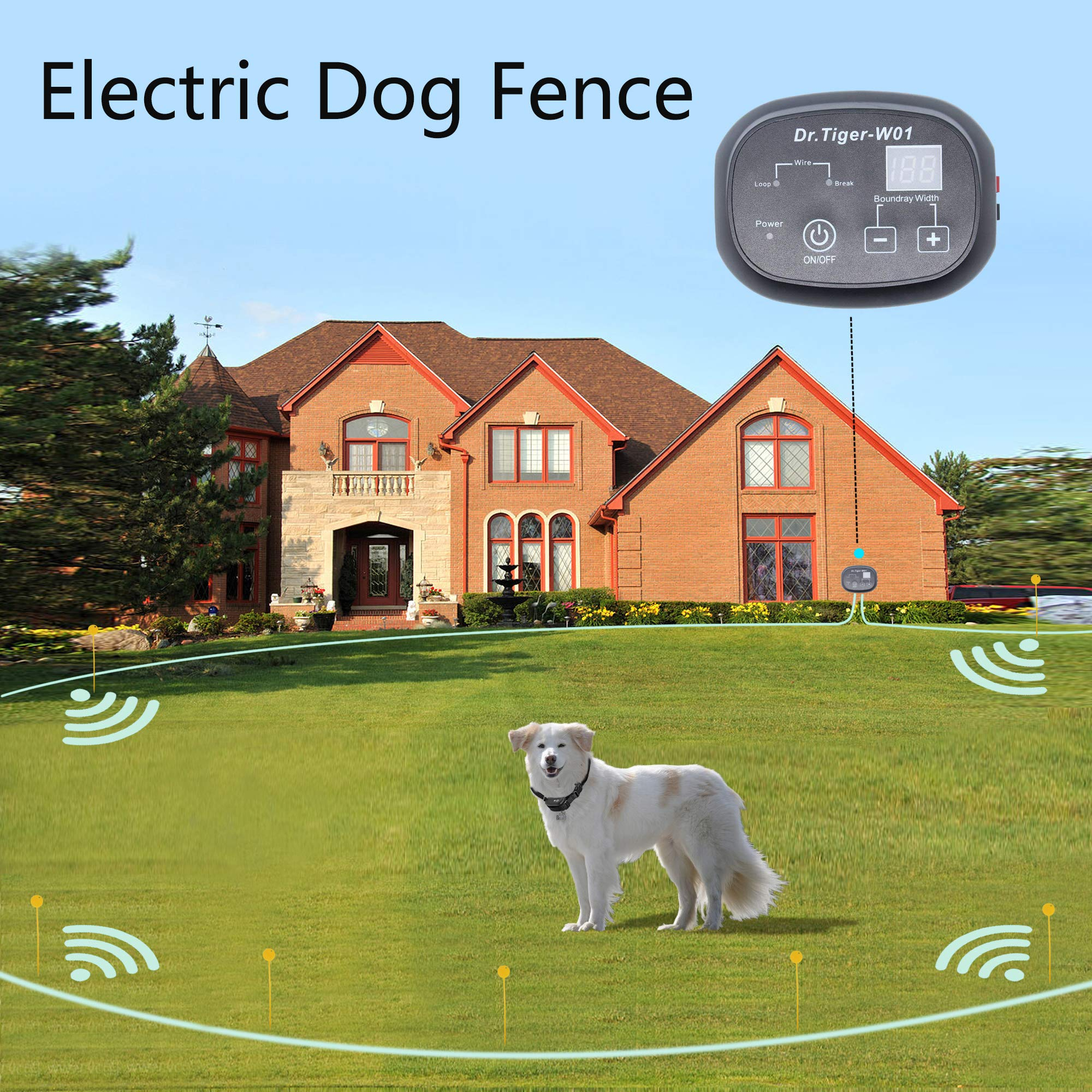 Dr.Tiger 1 Receiver Electric Dog Fence, Invisible Fence for Dogs, Collar Send Beeps and Shock Correction, Dark, 650 Feet by Dr.Tiger (Image #1)