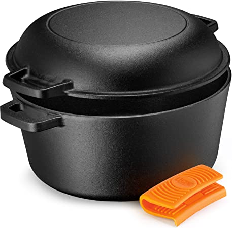 Legend Cast Iron Dutch Oven 5 Quart Cast Iron Multi Cooker Stock Pot For Frying, Cooking, Baking Broiling on Induction, Electric, Gas In Oven Lightly Pre-Seasoned Gets Better with Each Use