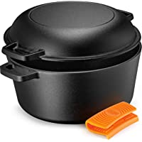 Legend Cast Iron Dutch Oven | 5 Quart Cast Iron Multi Cooker Stock Pot For Frying, Cooking, Baking & Broiling on…