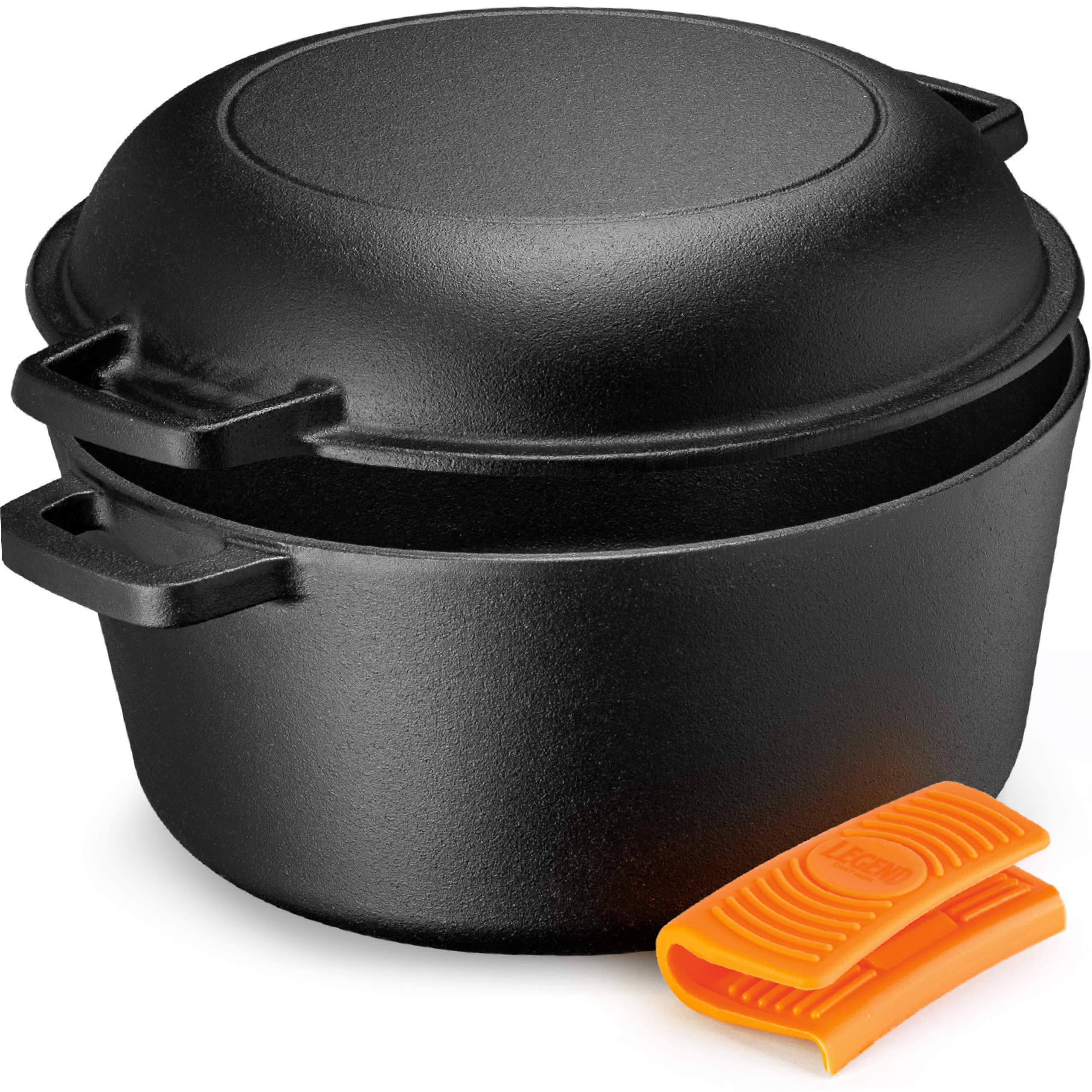 Legend Cast Iron Dutch Oven | 5 Quart Cast Iron Multi Cooker Stock Pot For Frying, Cooking, Baking & Broiling on Induction, Electric, Gas & In Oven | Lightly Pre-Seasoned & Gets Better with Each Use by Legend Cast Iron (Image #1)