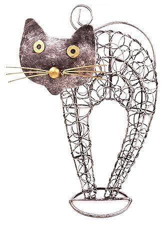 Gatto in ferro battuto decorazione metallo 30 cm artigianale animale ...