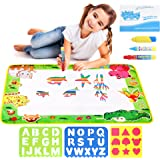 "Water Drawing Aqua Doodle Mats: Large 29"" x 19"" Water Doodle Pad with 3 Marker Pens, 1 Sheet of Shapes, 2 Alphabet Stencils & 1 Drawing Book - Art & Educational Toy for Kids - Toddler Boys & Girls Toy"