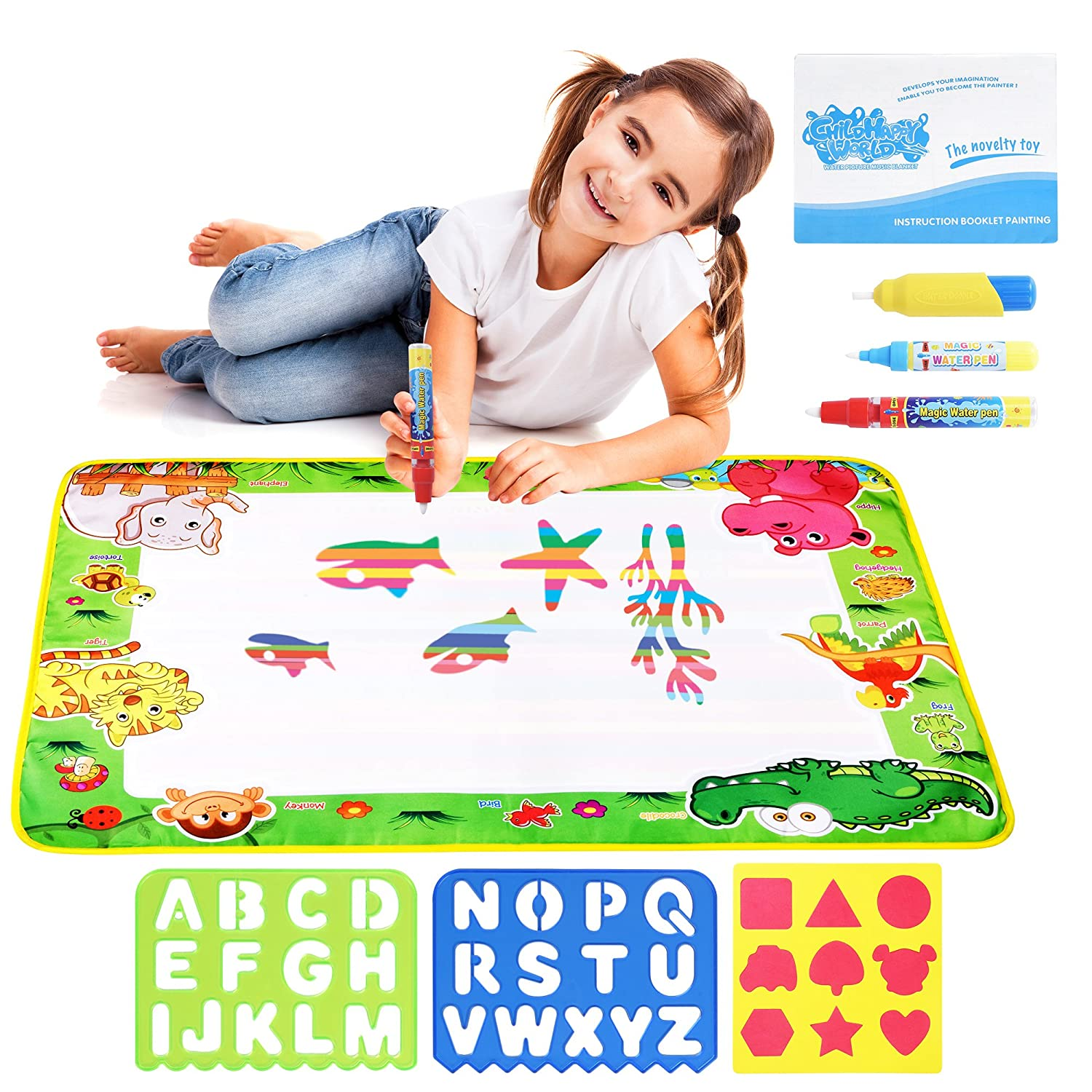 """Water Drawing Aqua Doodle Mats: Large 29"""" x 19"""" Water Doodle Pad with 3 Marker Pens, 1 Sheet of Shapes, 2 Alphabet Stencils & 1 Drawing Book - Art & Educational Toy for Kids - Toddler Boys & Girls Toy Zutan"""