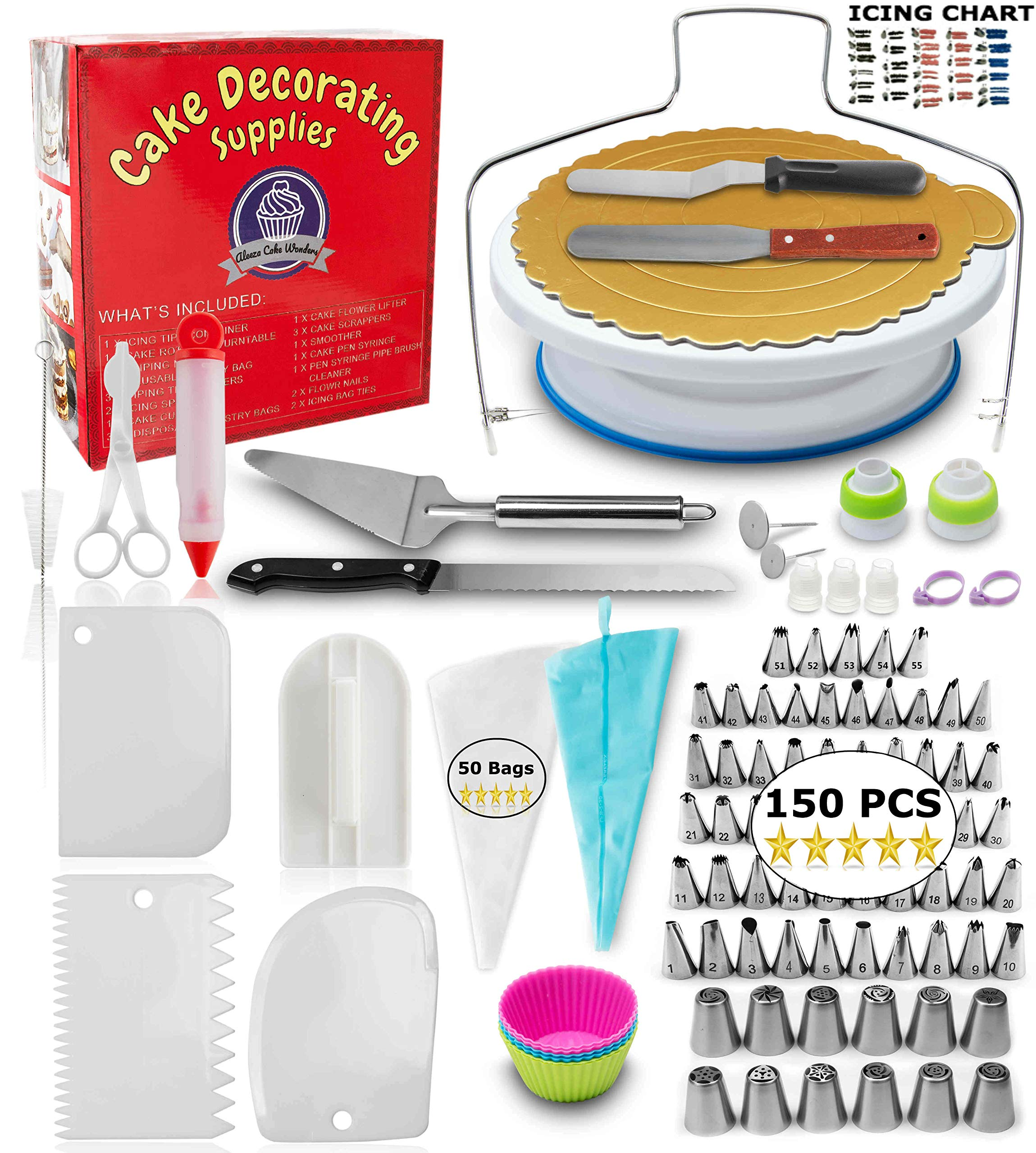 Cake Decorating Supplies - (150 PCS CAKE DECORATING KIT) With Numbered Icing Tips, Tips Chart, Cake Rotating Turntable and More. Create AMAZING Cakes w/this cake set! by Aleeza Cake Wonders (Image #1)