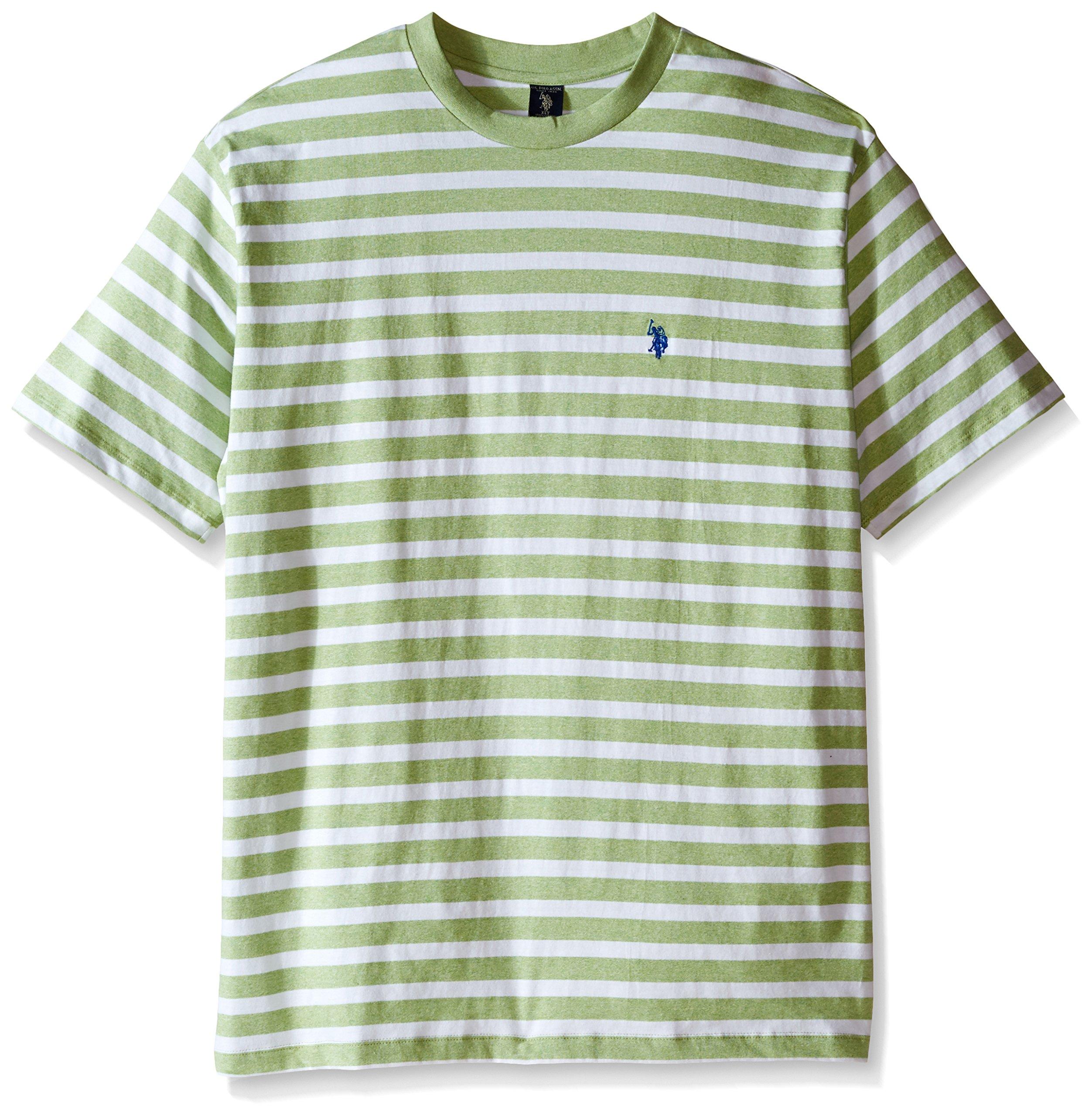 U.S. Polo Assn.. Men's Big-Tall Short Sleeve Melange Stripe Crew Neck T-Shirt, Summer Lime, 3X
