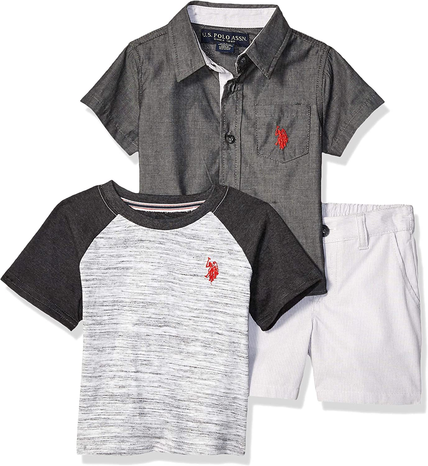 U.S Polo Assn 3 Pack Boys Short Sleeve Fashion Graphic T-Shirts