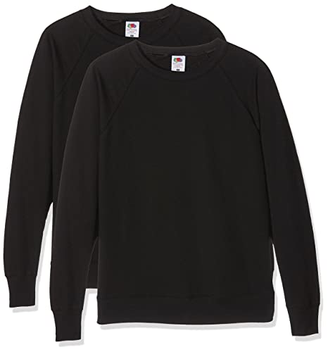 Fruit of the Loom Ladies Lightweight Raglan Sweat Suéter para Mujer, Pack de 2