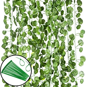 12 Pack (Each 82 inch) Artificial Greenery Fake Hanging Vine Plants Leaf Grape Leaves Garland Hanging for Wedding Party Garden Outdoor Greenery Office Wall Decoration