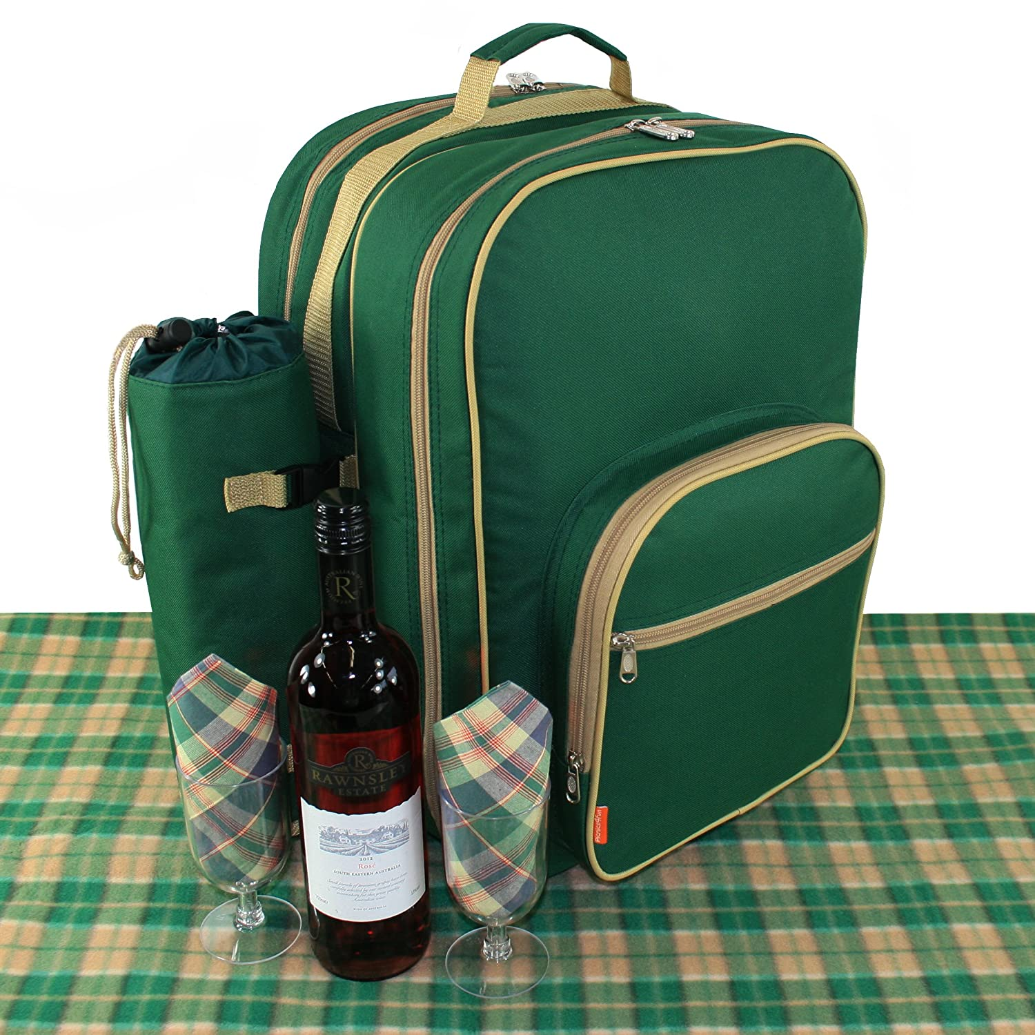 Deluxe Picnic Backpack Set For 4 Flask Mugs and Travel Rug Picnics4Fun