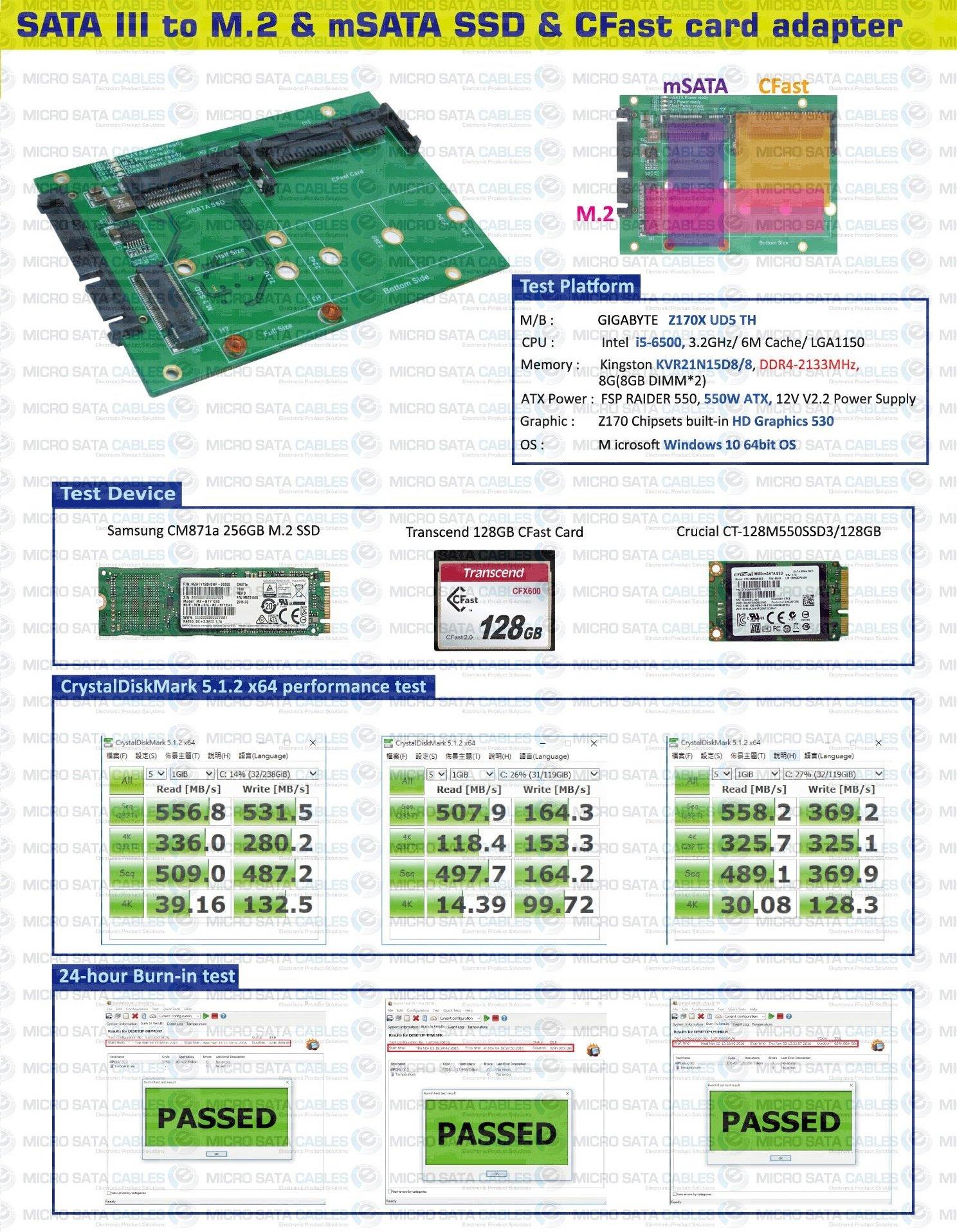 SATA III to mSATA & M.2 SSD & CFast Card Adapter