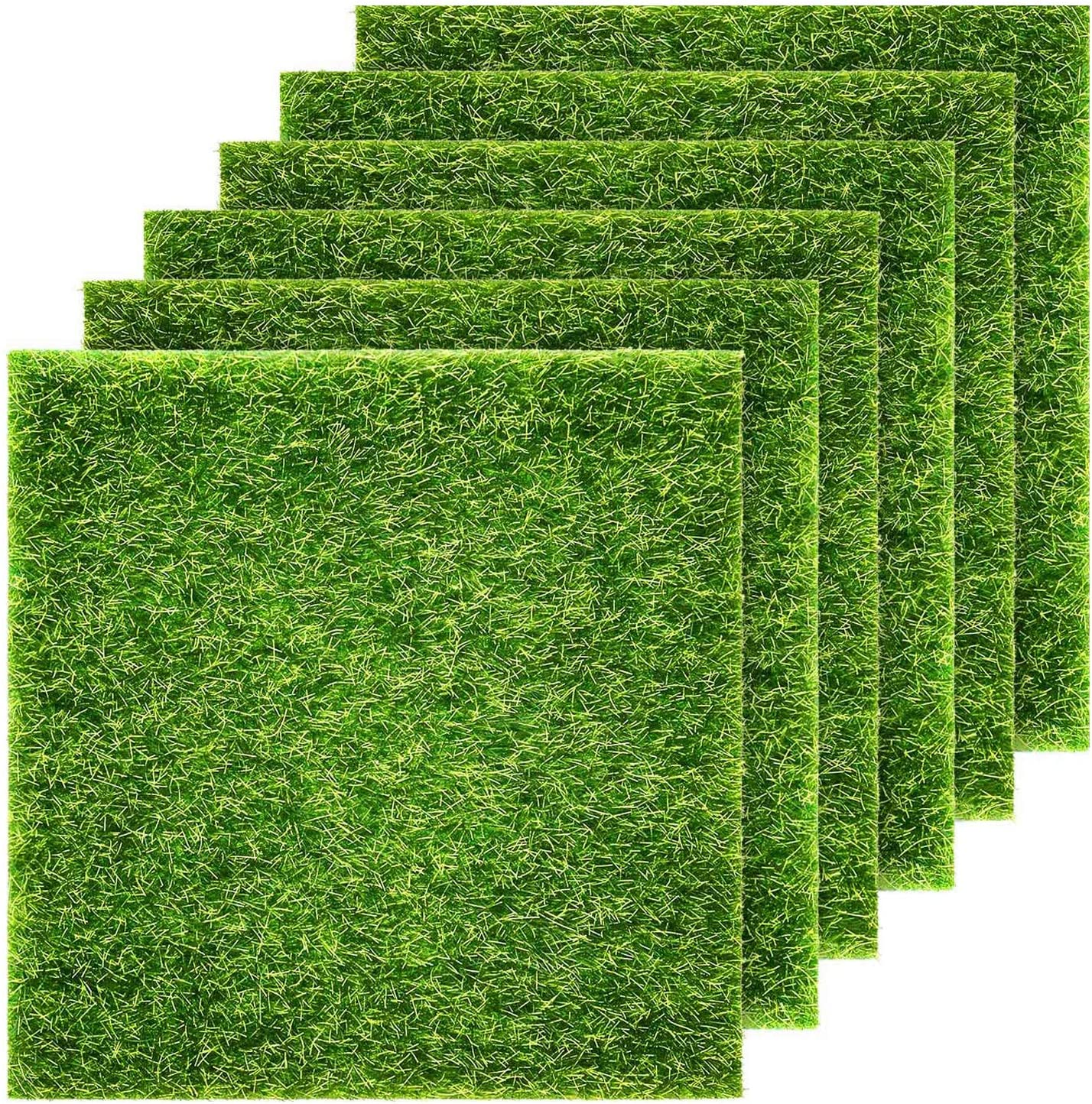 KISEER 6 Pcs Artificial Garden Grass 6 x 6 Inches Life-Like Artificial Grass Lawn Miniature Ornament for Fairy Garden Dollhouse DIY Decoration