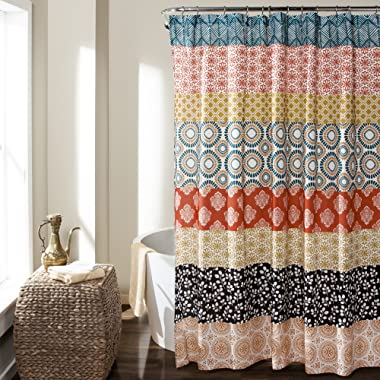 Lush Decor Lush Décor Bohemian Stripe Shower Curtain, 72  x 72 , Turquoise/Orange