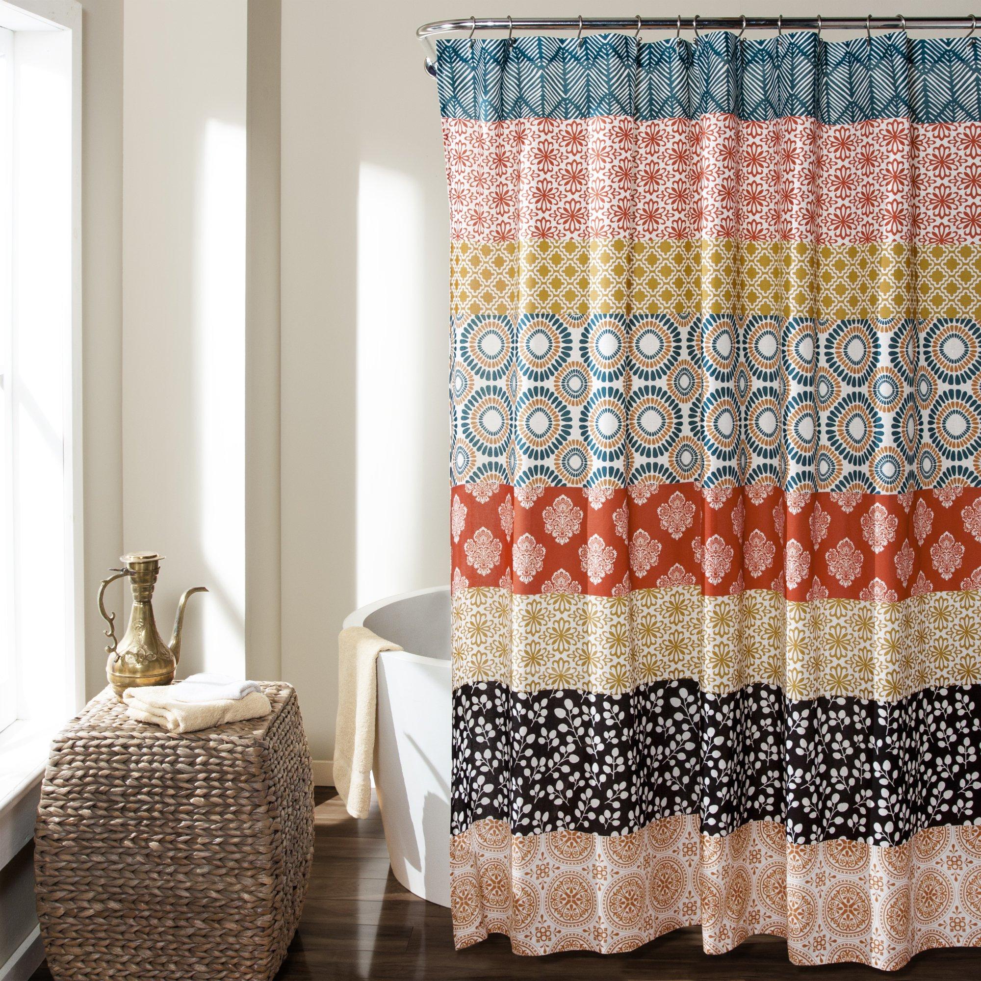 Bohemian Stripe Shower Curtain Turquoise Orange Moroccan Boho Chic Bath Clean