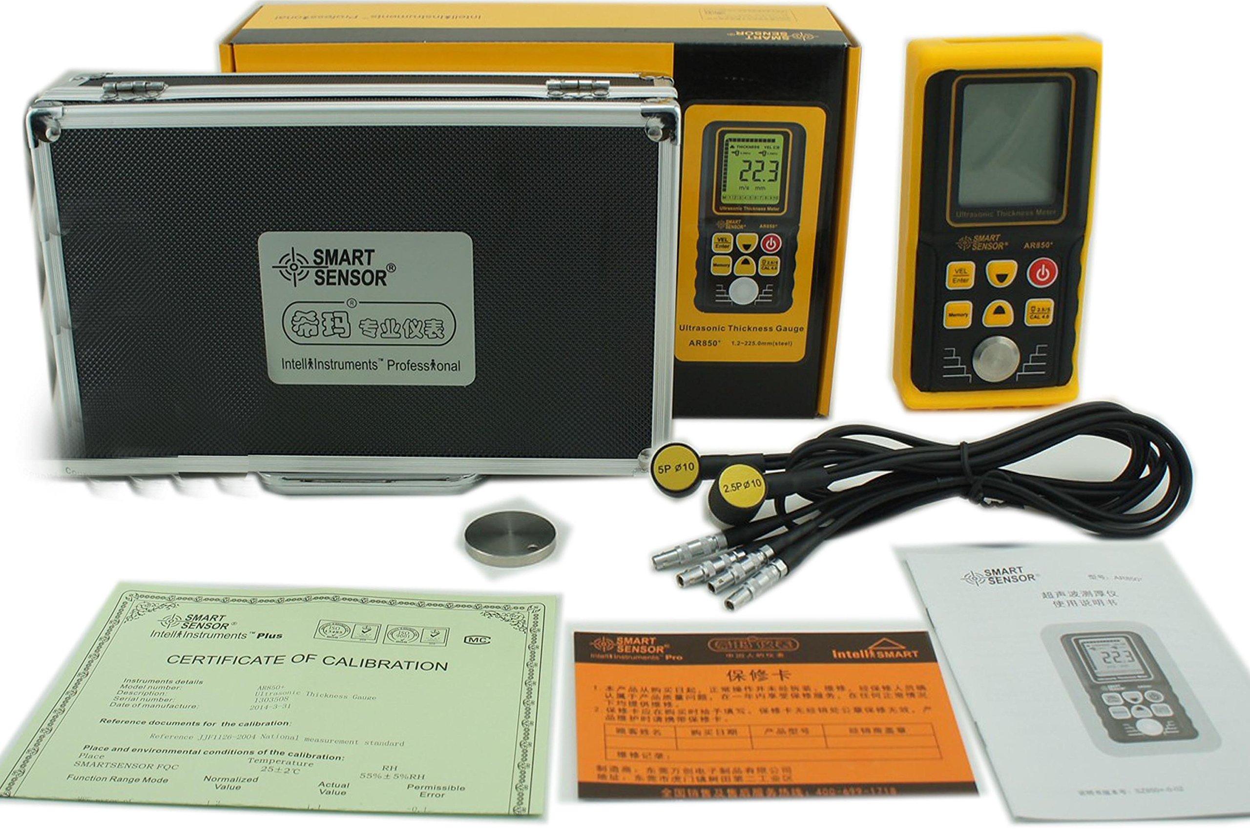 VETUS INSTRUMENTS AR850+ Portable Digital Ultrasonic Thickness Meter Tester Gauge Range 1.20 to 225.0 mm(Steel) Sound Velocity 1000 to 9999m/s For Metal Plastic ceramic glass glass fiber Tester