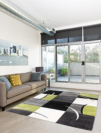 Moderner Designer Teppich Wohnzimmer Kurzflor 3D Konturenschnitt   200x290  Cm   Schadstofffrei   Grau Schwarz Grün