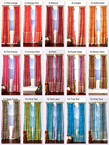 Light-Filtering Sari Colorful Curtains Boho Curtain