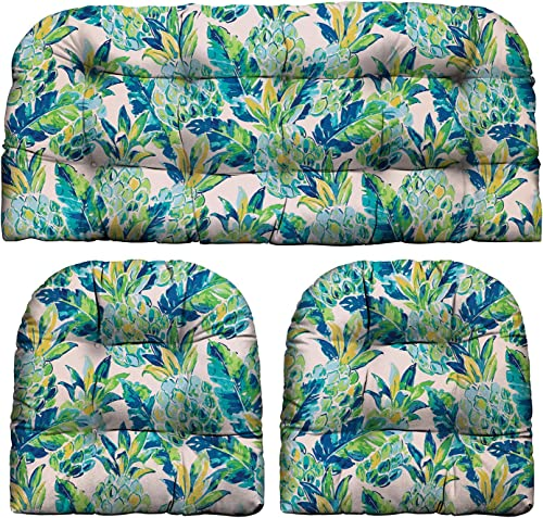 RSH D cor Indoor Outdoor Scroll Medallion Prints – 3 Pc Tufted Wicker Cushion Set 1 Loveseat 2 U-Shape-Choose Color Size Vida Opal Yellow Green Blue Lily Pineapple, LS 44 x22 US 21 x21