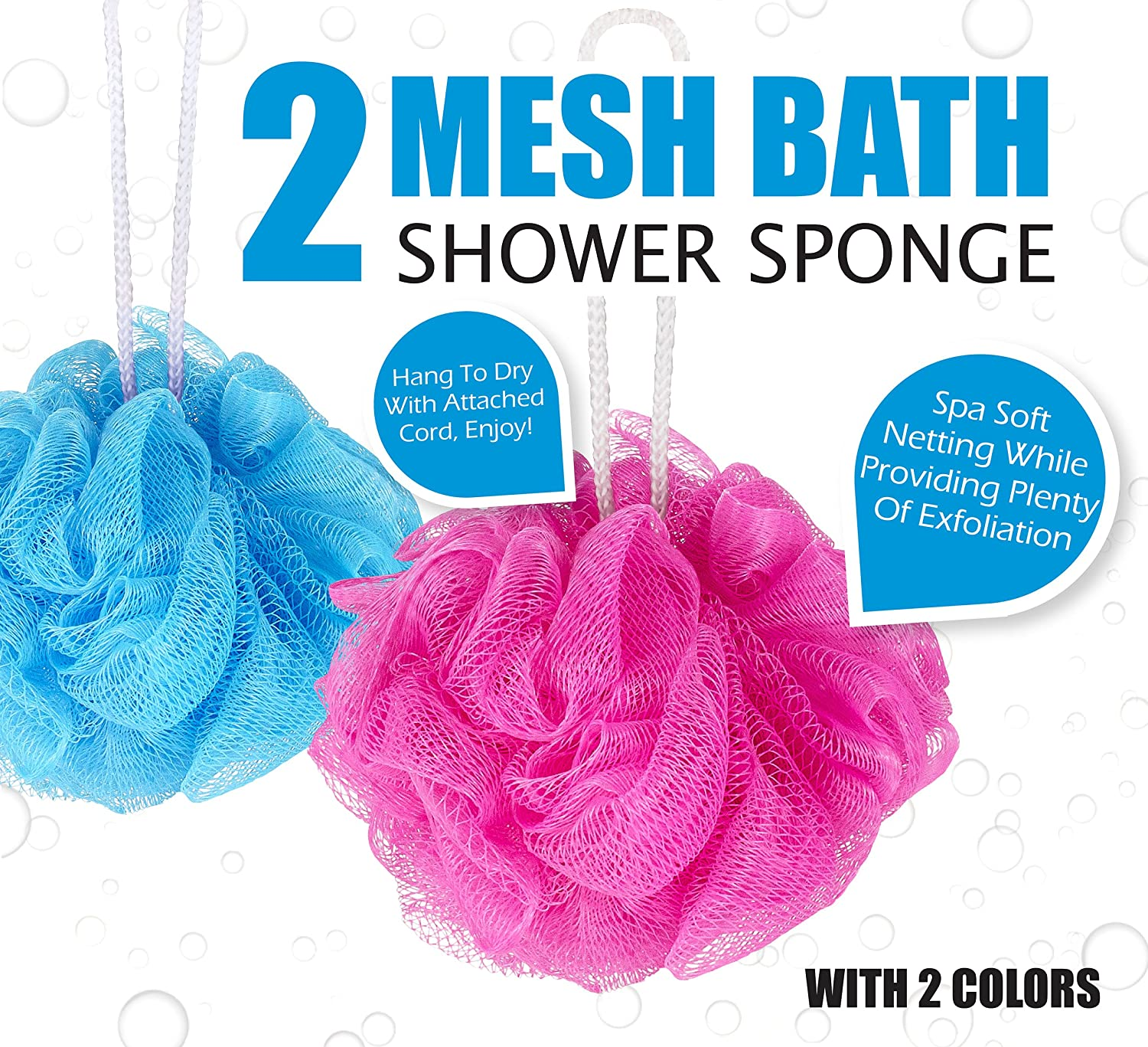 Home Prime Exfoliating Shower Loofah Sponge Pads By 3 Pack of Loofah Sponge Pads + 2 Mesh Pouf Sponges.