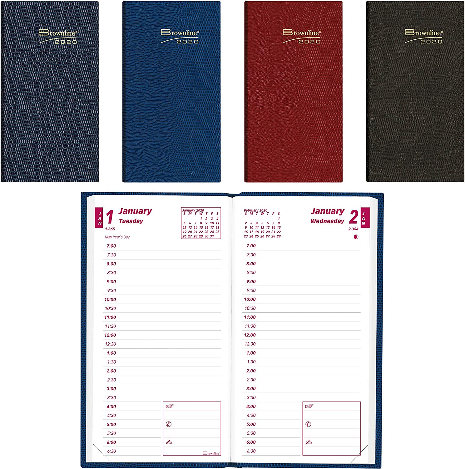 Color May Vary 6 x 3.125 inches Assorted Colors Brownline 2020 Planner Daily Appointment Book CB401.ASX-20