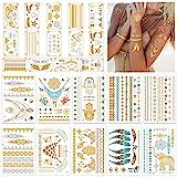 24 Sheets Gold Temporary Tattoos for Women Girls Adults - Over 300 Shimmer Waterproof Fake Tatoos - Gold Tattoos Metallic Sti