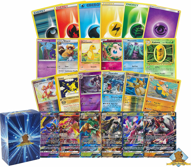 200 Pokemon Card Lot - 100 Pokemon Cards - GX Rares Foils - 100 Energy! Includes Golden Groundhog Deck Box!