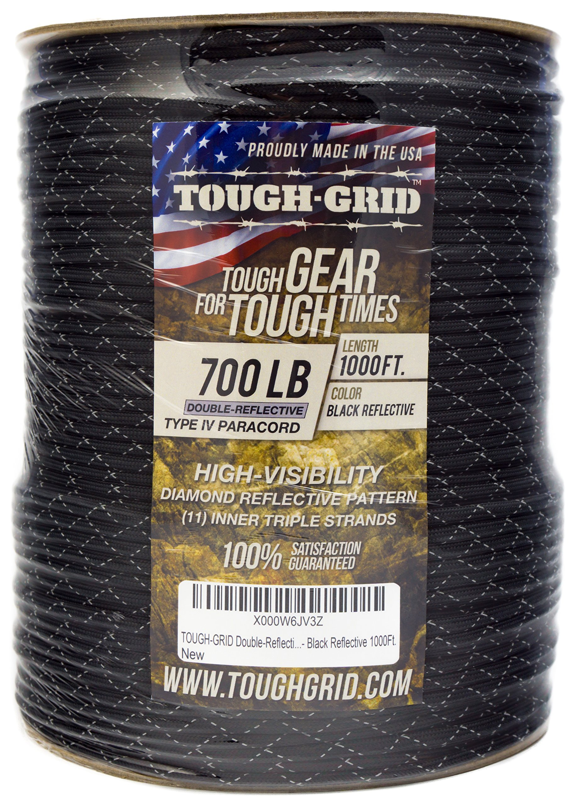 TOUGH-GRID New 700lb Double-Reflective Paracord/Parachute Cord - 2 Vibrant Retro-Reflective Strands for The Ultimate High-Visibility Cord - 100% Nylon - Made in USA. - 100Ft. Black Reflective by TOUGH-GRID (Image #7)