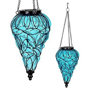 "Exhart Blue Solar Lantern - Glass Tear-Shaped Hanging Lantern - Teardrop Glass Ceiling Lantern Hangs in a Metal Cage w/ 12 Blue LED Firefly Solar Lights 7"" L x 7"" W x 24"" H"