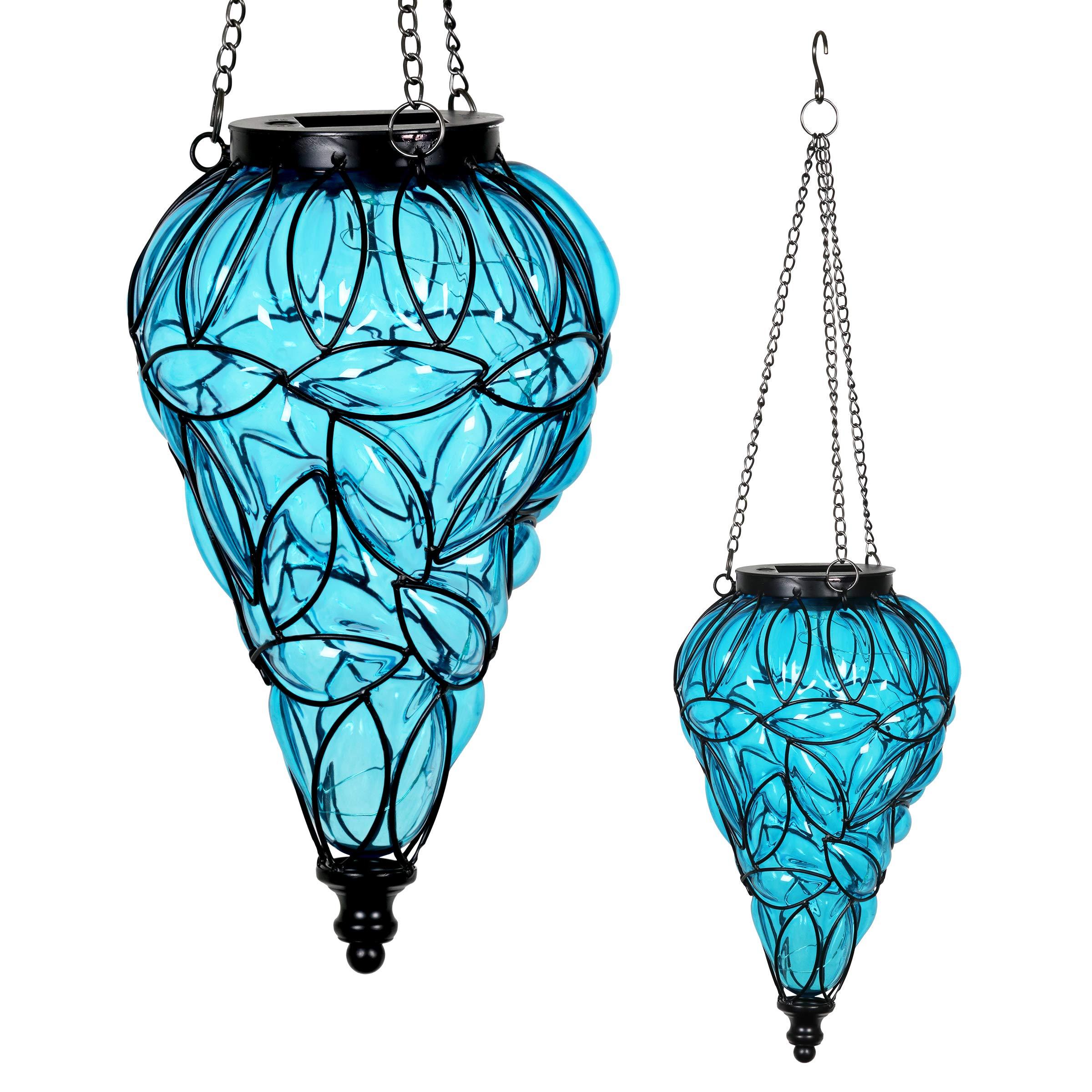 Exhart Blue Solar Lantern - Glass Tear-Shaped Hanging Lantern - Teardrop Glass Ceiling Lantern Hangs in a Metal Cage w/ 12 Blue LED Firefly Solar Lights 7'' L x 7'' W x 24'' H