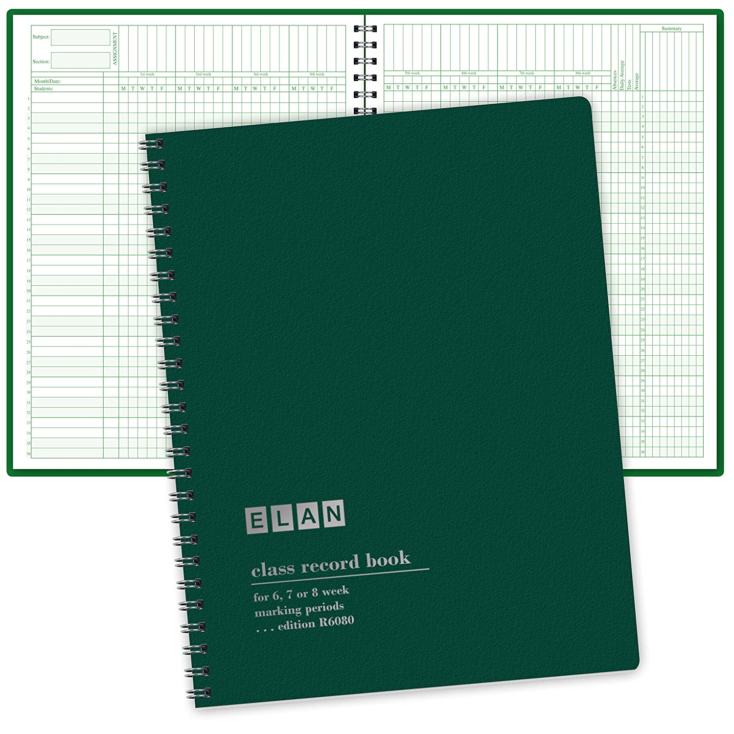 Class Record Book for 6-8 Weeks. 36 Names. Large Blocks (R6080) ELAN Publishing Company
