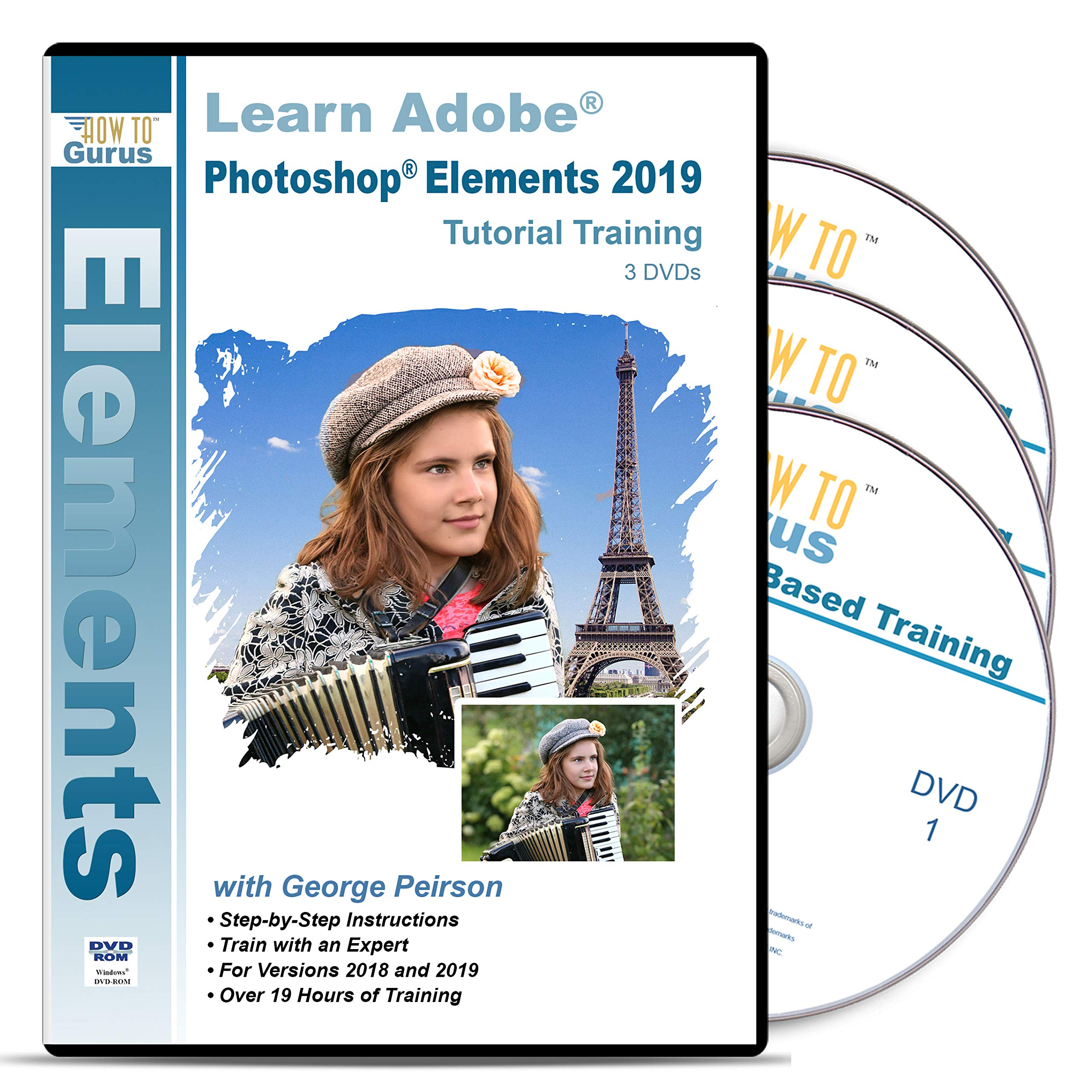 Adobe Photoshop Elements 2019 Tutorial Training on 3 DVDs by How To Gurus