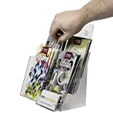 Clear-Ad - LHF-P82 - Acrylic 2 Tier Brochure Holder Organizer 8.5 x 11 with Business Card Pocket - Plastic Stand for Posters, Leaflets, Magazines, Envelopes, Flyers, Pamphlets, Booklets