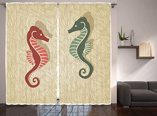Ambesonne Seahorses Nautical Decor Curtains, Graphic Colorful Beach Coral Reef Design, Window Drapes 2 Panel Set for Living Room Bedroom, 108 W X 90 L Inches
