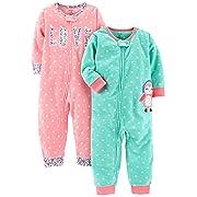 Carter's Baby Girls' 2-Pack Fleece Footless Pajamas, Love/Owl, 18 Months