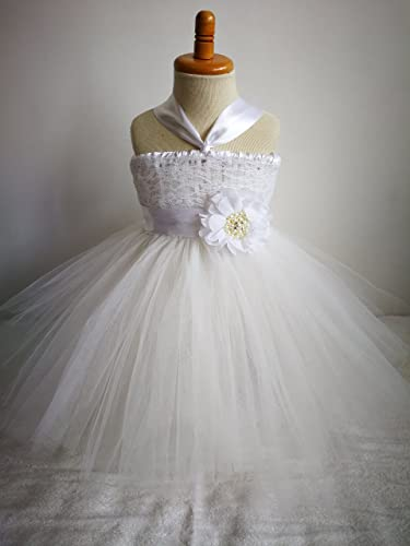 75e133aa11f Amazon.com  Flower Girl Dress Baptism Dress Birthday Tutu Dress Lace White  Ivory  Handmade