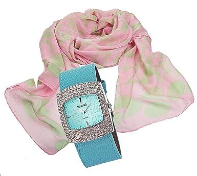Tendance Montre élégant coffret cadeau pour femme avec dame écharpe, foulard  au design fleurs de 984d3146380